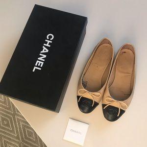 Very well worn Chanel ballerinas